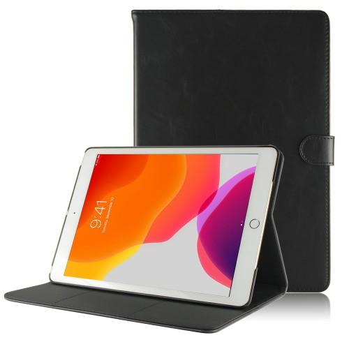 iPad 10.2 (2019) leren hoes / case zwart
