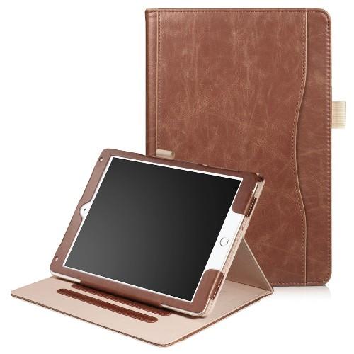 iPad Air 1 / Air 2 / 9.7 (2017) leren case / hoes bruin incl. standaard met 3 standen