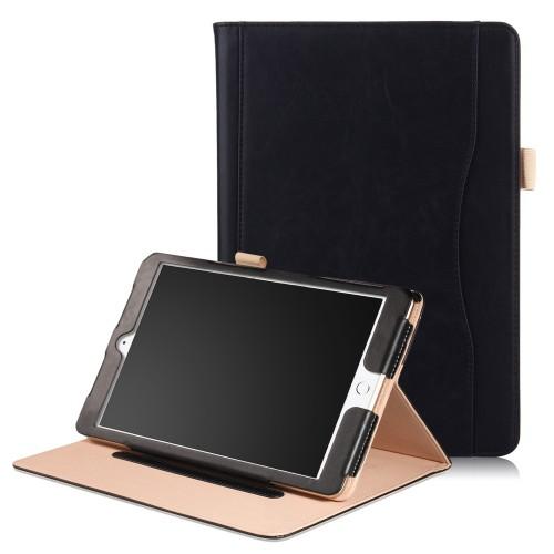 iPad mini 4 / iPad mini 5 leren case / hoes zwart incl. standaard met 3 standen