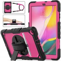 Samsung Galaxy Tab A 10.1 (2019) case met screenprotector, handriem en schouderriem voor Horeca en Bouw Roze