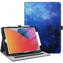 Dasaja -  iPad 10.2 inch (2019 / 2020) stevige hoes - met opbergruimte – 3 standen - met pencil houder – Galaxy - Blauw