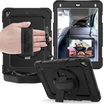 iPad 9.7 (2017 & 2018) hoes / case met screenprotector, handriem en schouderriem voor Horeca en Bouw zwart