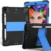 Dasaja - iPad 10.2 inch (2019 / 2020) hoes - Stevige case - met standaard - met penhouder – Zwart - Blauw